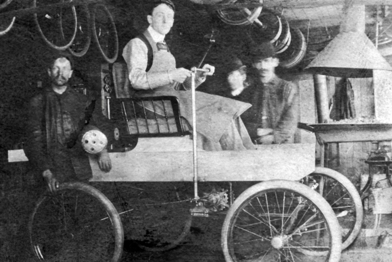 George Foote Foss In His Fossmobile, The First Gasoline-powered Car Built In Canada.